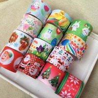 Christmas Easter Holiday Eggs Printed Grosgrain Ribbon Clothing Bakery Accessory Bow Material Gift Wrap Ribbon Tape