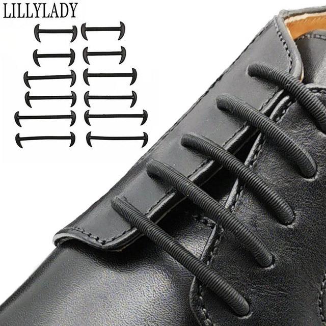 12pcs/set 3 Size Men Women Leather Shoes Rubber Silicone Shoelaces For Shoes Lazy No Tie Shoelaces Elastic Off White Black Brown 1