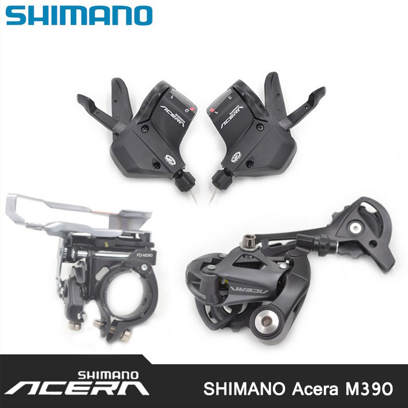 SHIMANO ACERA M390 9S 27S Speed MTB Bicycle Groupset Kit 3 Parts with Shifter Lever & Front and Rear Derailleur shimano deore xt m771 silver 9s 27s speed mtb bicycle rear derailleur part long cage