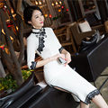 2016 winter plus tang suit for ladies satin damask short sleeve cheongsam top improved qipao top