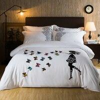 Новый 100% хлопок белая бабочка Вышивка роскошные свадебные Постельное белье 4 шт. King Queen Размеры девушки постельное Набор пододеяльников для