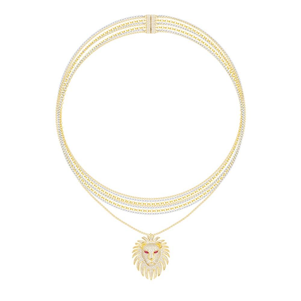 Новые женские Модные Цепочки и ожерелья Monaco Мода 925 Серебряный кулон Цепочки и ожерелья s для Для женщин красный корунд Лев инкрустированный