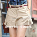 Горячие продажи высокое качество летние женские шорты рюшами skorts сплошной цвет женские хлопчатобумажные шорты плюс размер