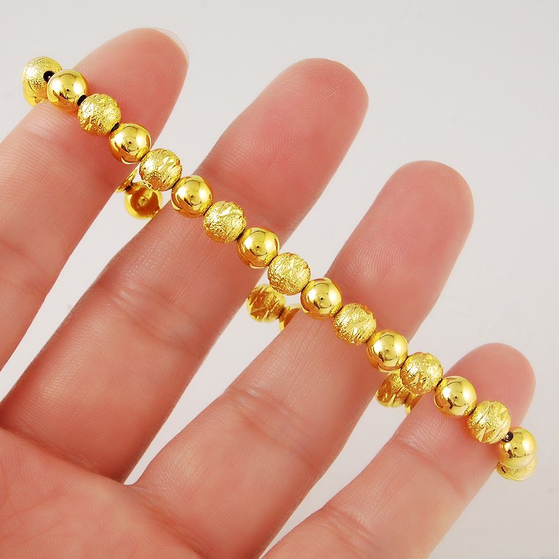 Women 39 s Fashion Vintage Luxury 24K Pure Gold Color Wedding Bracelet Beads Chain Gold Plating Jewelry Gifts for Party Wholesales in Charm Bracelets from Jewelry amp Accessories