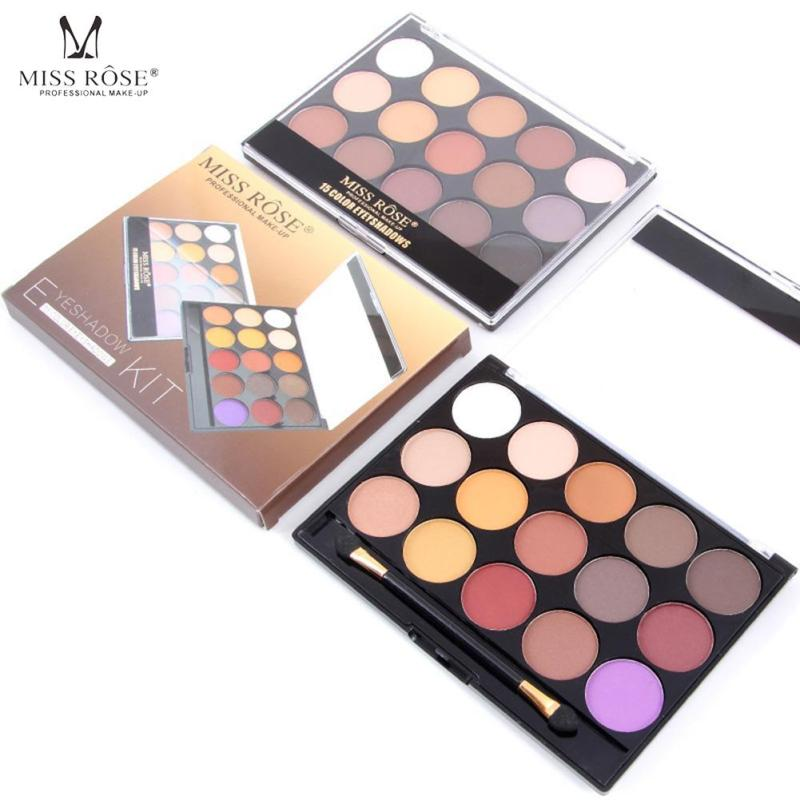 MISS ROSE 15 Color Eyeshadow Palette Silky Powder Profession