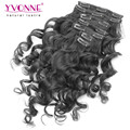 Loose Wave Brazilian Clip in Hair Extensions Human Hair,100% Virgin Hair Extension, 7Pcs/set Natural Color Clip ins