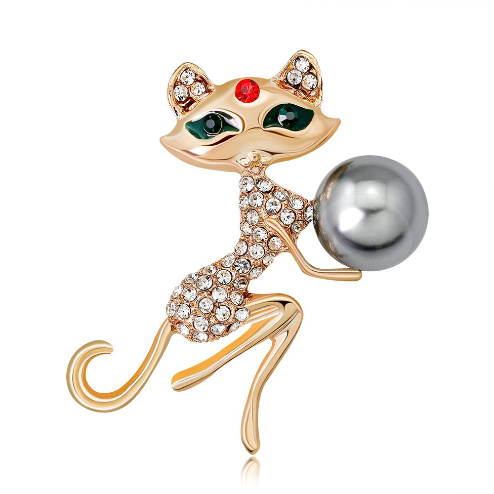 Cute Little Cat Pearl Brooches Pin Up Jewelry For Women Suit Hats Clips Corsages Brand Bijoux Brooch DR-212