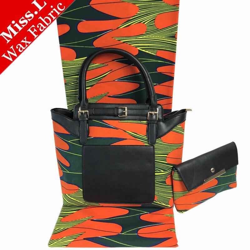 Bel design africano cera Della Borsa di corrispondenza 6 yards vero e proprio tessuto cera hollandais, di modo di alta qualità donna africana sacchetto di cera