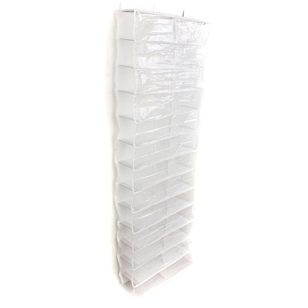 26 Pairs Over Door Hanging Stand Shoe Rack Shelf Storage Organiser Pocket Holder Creamy White Black