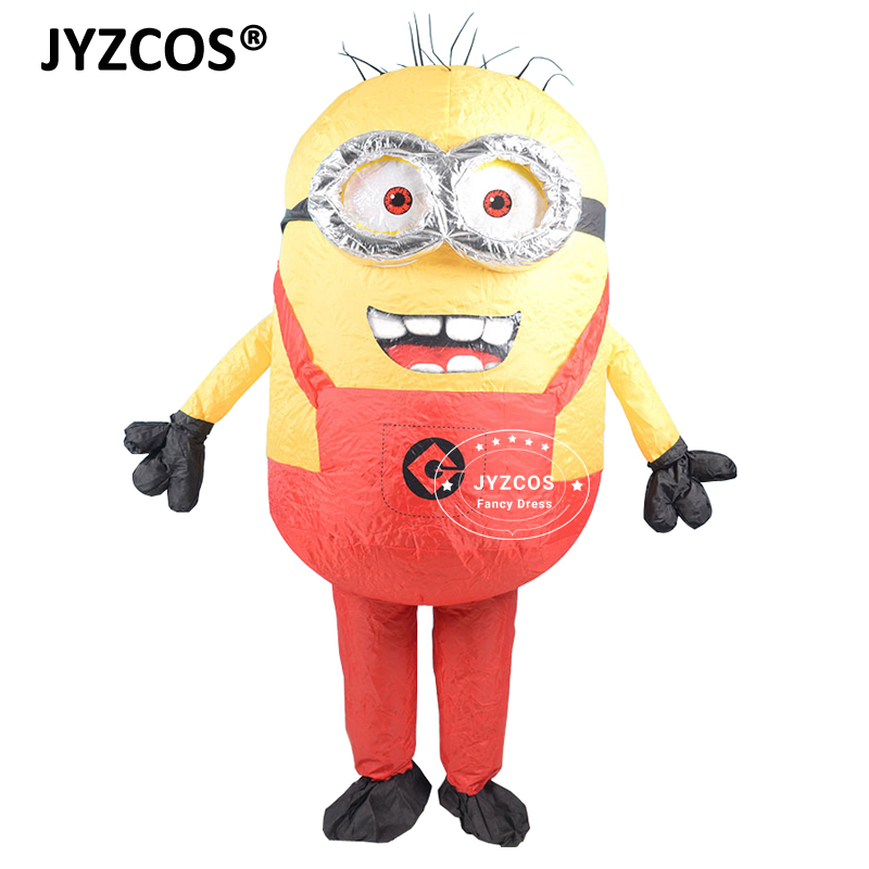 JYZCOS Adult Inflatable Minion Costume Halloween Carnival Party Cosplay Costume Double Eyes Minions Mascot Fancy Dress Outfits (4)