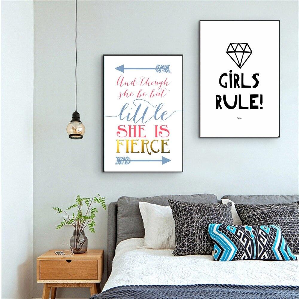 Fierce девочек Правило питомник Холст Картина Плакаты и принты для жизни детская комната не оформлена стены Книги по искусству Аватар Home Decor ра...