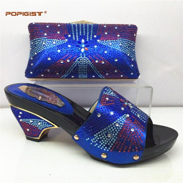 95c0cd2c1 Azul Royal Africano sapato combinando com saco de sapato e bolsa de definir  Italiana mais vendido