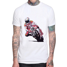 Casual Men T Shirt Fashion Motorcycle Racing Design Short Sleeve Casual Tops Hand Painted Illustration Mens T-Shirts Cool Tee