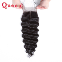 Queen Hair Loose Deep More Wave Brazilian Hair Weave Bundles Remy Human Hair Closures With baby Hair Free Part Lace Closure