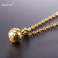 Starlord Football Soccer Pendants Necklace Ball Enamel Jewelry Sports Fashion Gold Color Stainless Steel Chain Men