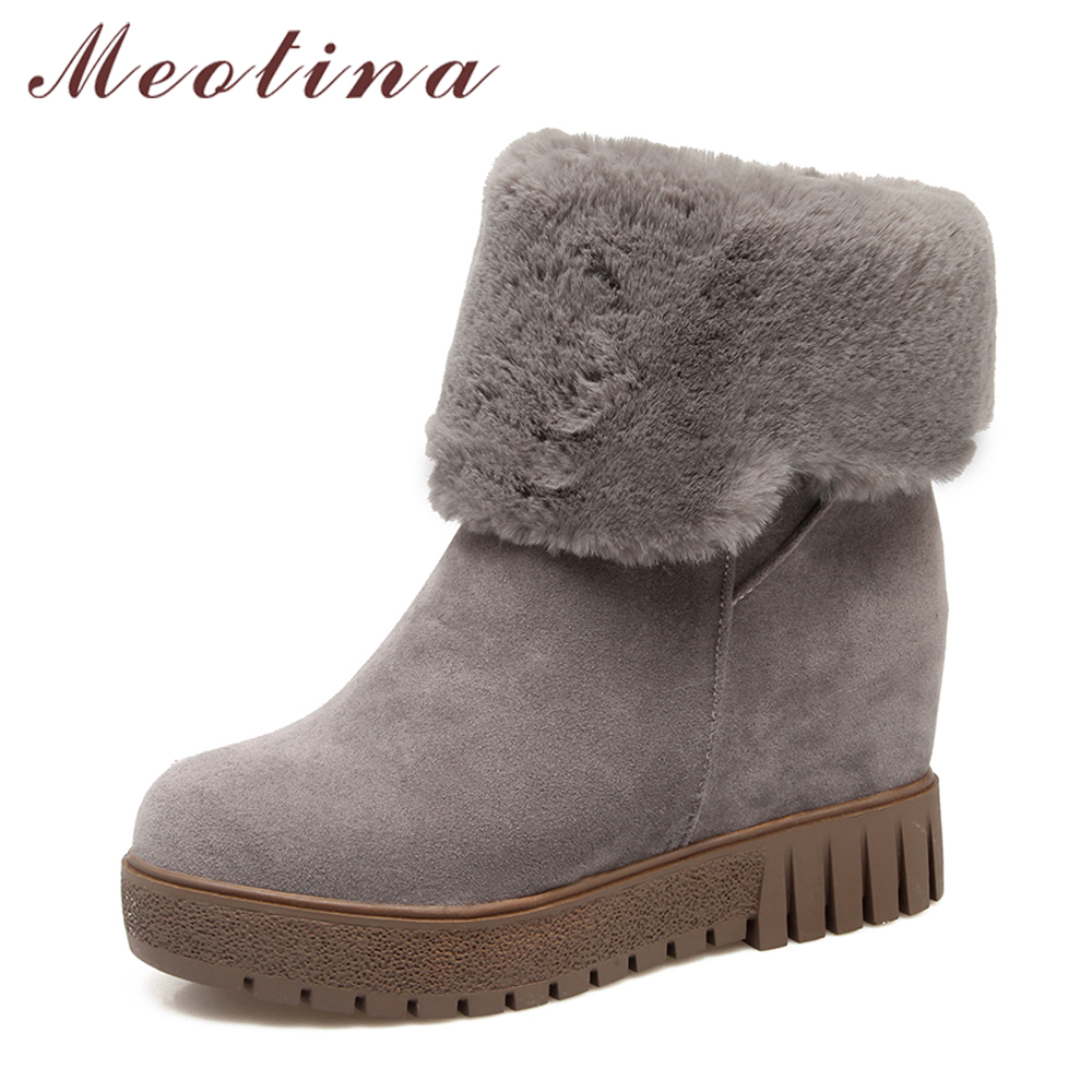 Meotina Winter Women Shoes Fur Platform Wedge Heel Snow Boots Hidden Heels Ankle Boots Ladies Short Boots Big Size 33-43 White tie up pompons hidden wedge snow boots