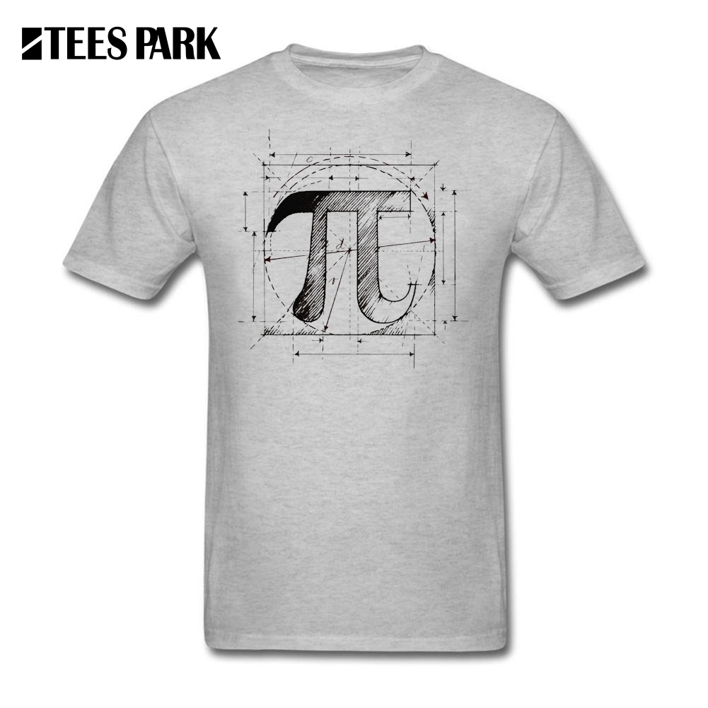 Vintage T Shirt Pi Symbol Sketch Math Teacher Funny Tee Shirts Man Crewneck Short Sleeve T-Shirt Men Round Neck Cotton