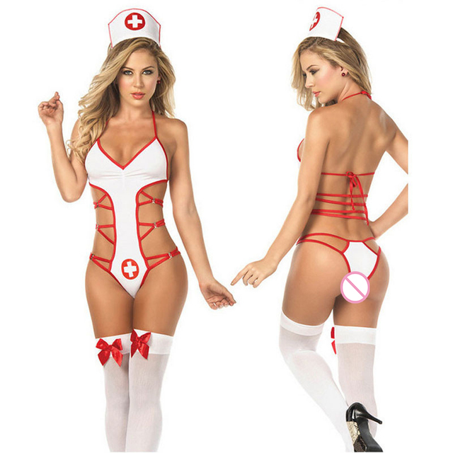 Nurse Costumes Cosplay Temptation Porn Sexy Erotic Lingerie Hot Women Teddy Lingerie Babydoll Lenceria Sexy Underwear Uniform