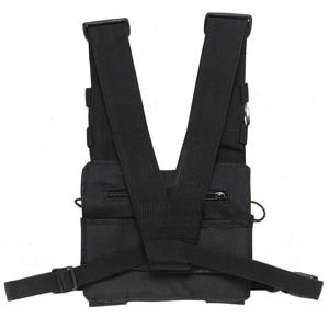 Image 2 - Нагрудный ремень для радиоприемника, нагрудная сумка для передней сумки, кобура, жилет для переноски парча для двухсторонней радиосвязи Baofeng TYT d xun Moto Walkie Talkie