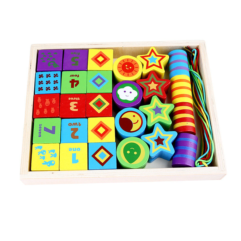 Free shipping Children 39 s Wood wear rope toys Kida wooden color beads piercing cartoon digital design children 39 s wooden toys in Model Building Kits from Toys amp Hobbies