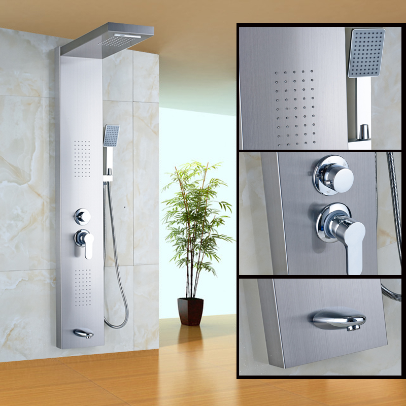 Brushed Nickel Wall Mounted Shower Faucet with ABS Plastic Handheld Shower Thermostatic Shower Panel wall mounted thermostatic shower faucet 2