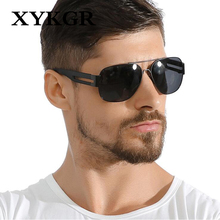 XYKGR new fashion mens metal large frame polarized sunglasses TR90 personality outdoor trend black UV400