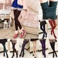 2016 otoño Invierno Cálido Mujeres Espesan Las Polainas de Terciopelo medias de Lana Elástica Leggings Pantalones Flacos panti 6 colores