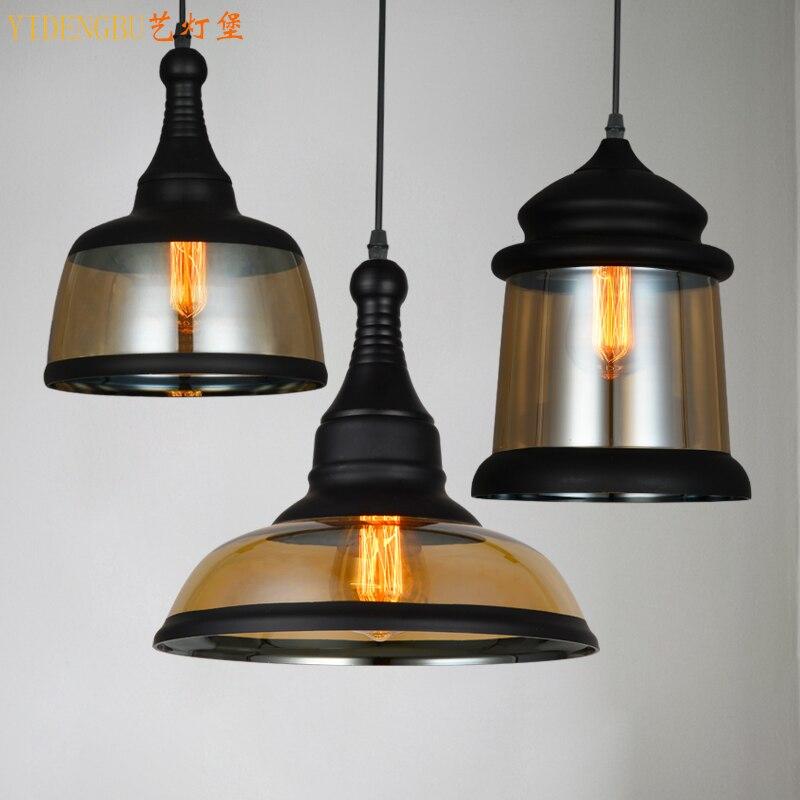 Vintage Loft Globus Lichter Schmiedeeisen Glas Schatten Küche Licht Dinning Hängelampen Bar pendente Leuchte