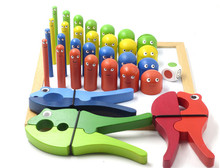 New Wooden Baby Pliers beetle interactive board game Baby Educational Toy Baby gift