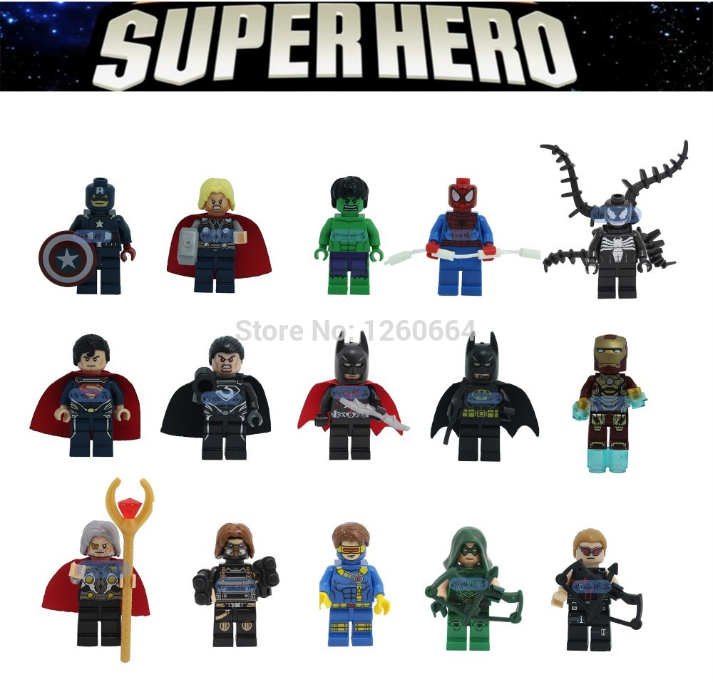 15 super heroes collection marvel avengers building brick block figure hulk batman toys gfit fit with lego