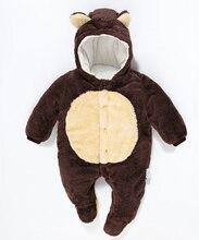Новорожденный ребенок Верхняя Одежда Пуховик Зимой Толстые Для Детей Детские Snowsuit Детские наряд Младенческой Девочка Мальчик толстый Слой Медведь