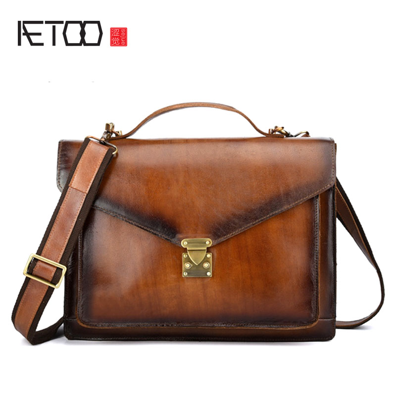AETOO New retro leather handbag casual shoulder bag Hand-brushed first layer leather men's business briefcase aetoo men s handbag vertical leather retro casual first layer leather briefcase diagonal package computer bag