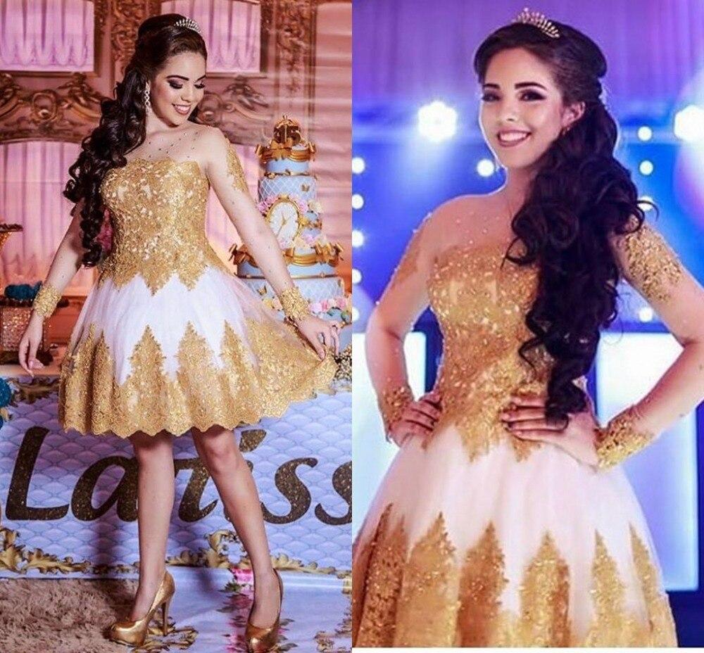 Short   Prom     Dresses   Long Sleeves Golden Lace White Tulle Sheer O-Neck Button Back Knee Length A-Line Party Gown Vestidos De Festa