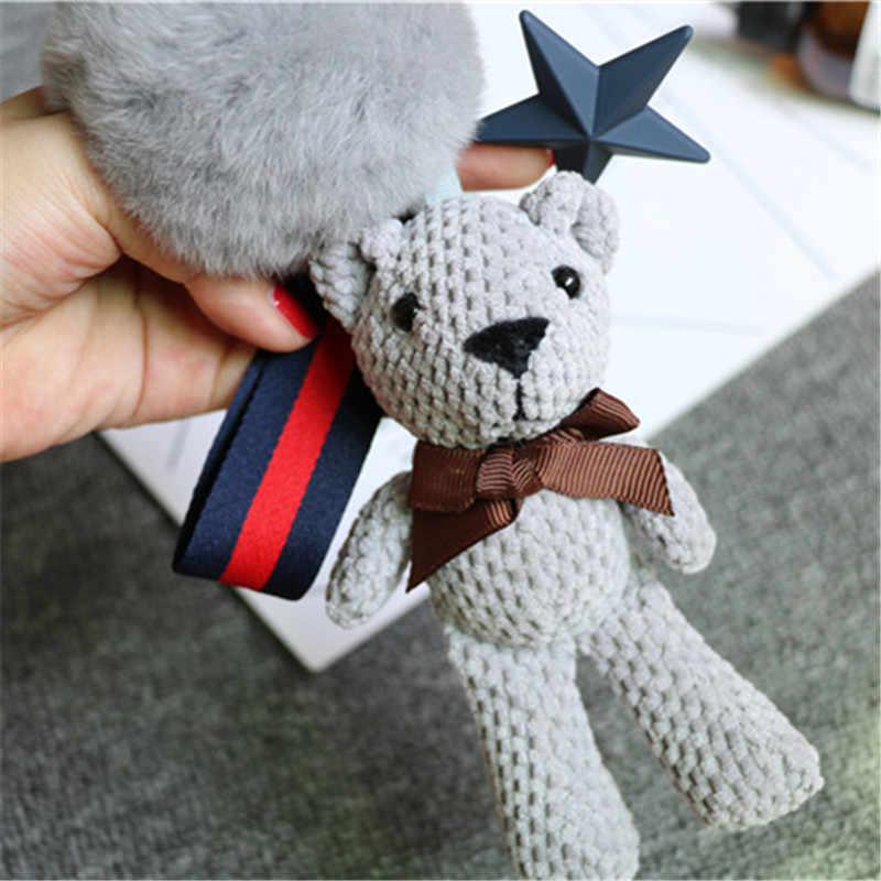 Ursos dos desenhos animados Anime Bonito Boneca Animal Chaveiro Bola de Pêlo de Coelho Pom Pom Mulheres Anel Chave Saco Carro Pingente Trinkets Chave chaveiros Presente