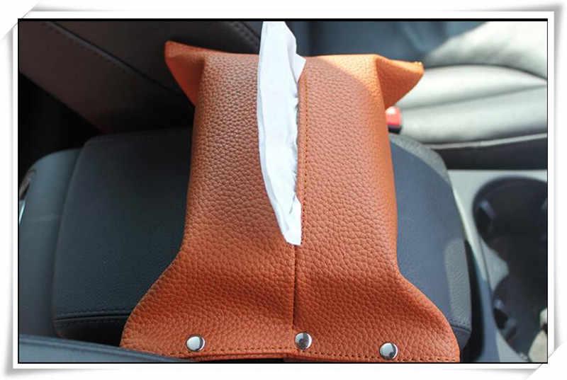 2018 HOT wysokiej jakości czarny sztuczne PU skórzane pudełko na chusteczki do samochodu dla SsangYong actyon korando kyron rexton 2 obrotowe klucze godło