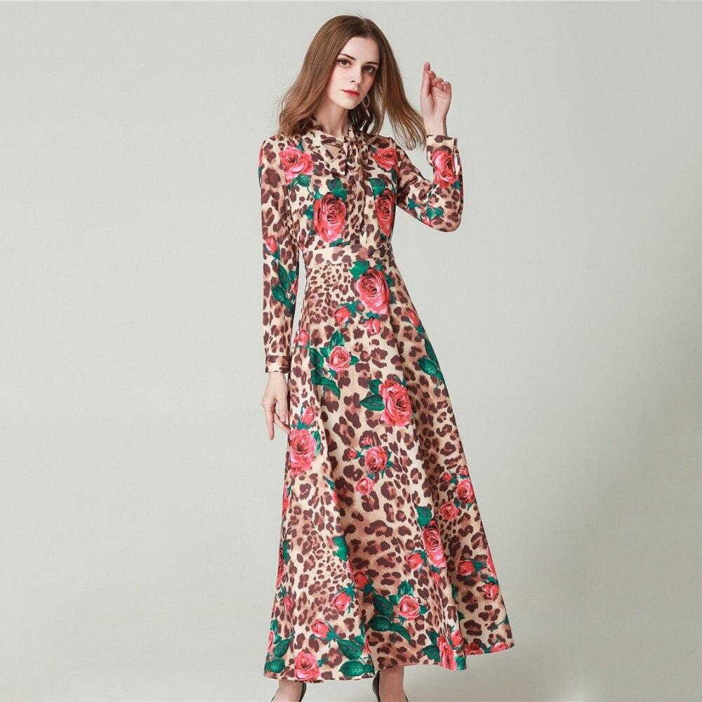 Léopard Robe Printemps Longues Floral De Truevoker Arc Maxi Col Station Ete Imprimé Dames Femme Designer Longue À Vacances Manches BpHnnqwPdW