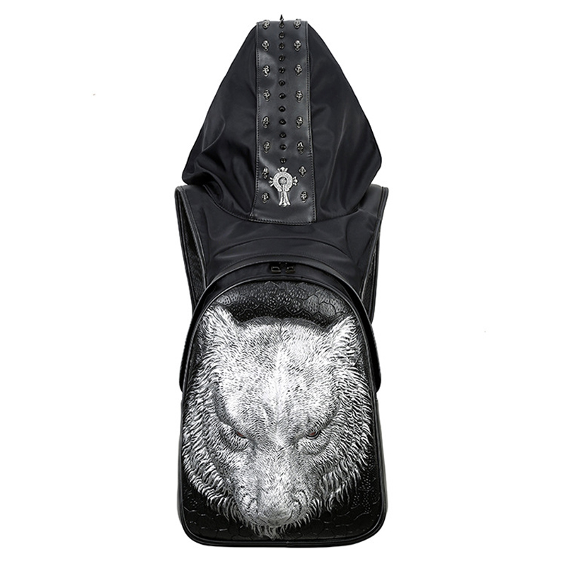 Mode Punk sac à dos femmes hommes hip-hop sac à dos Famale 3D tigre Rivet sacs à dos avec chapeau sacs d'école pour adolescents sac de voyage - 2