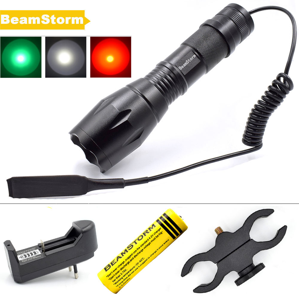 BeamStorm FL-15 Zoomable LED Flashlight 1000 Lumens T6 Q5 Green Red White Hunting Light AAA 18650 Battery Tactical Remote Switch x300v led flashlight black tan color 150 lumens white light for hunting shooting cl15 0070
