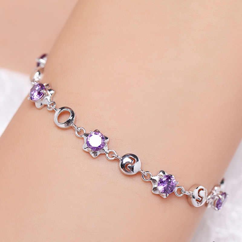 100% 925 argent sterling mode 520 lettre brillant cristal dames bracelets bijoux pas de décoloration pas cher femme bracelet en gros cadeau