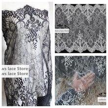 Здесь можно купить   3 meters /lot 65 cm wide Black white Eyelash Lace Fabric DIY Decorative High Quality Soft Off  Wedding trim Handmade textiles Arts,Crafts & Sewing