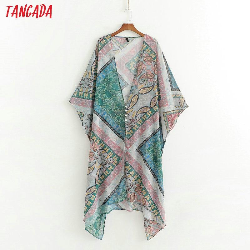 Tangada Kimono Oversized Loose-Buttons Print Women Summer V-Neck Paisley Chiffon Top-1d103