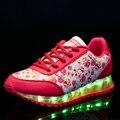 Mujeres Zapatos LED 8 Colores Emisor Luminoso Mujeres Zapatos Casuales Zapato Luces LED de Carga USB Impresión de La Manera Pisos