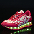 Women LED Shoes 8 Colors Emitting Luminous Women Casual Shoes LED Lights USB Charging Shoe Fashion Printing Flats
