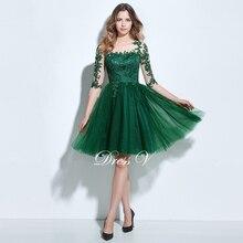 Dressv коктейльное платье трапециевидной формы с круглым вырезом зеленое с аппликацией 3/4 Длина рукава пуговицы длиной до колена коктейльное платье Формальное вечернее платье