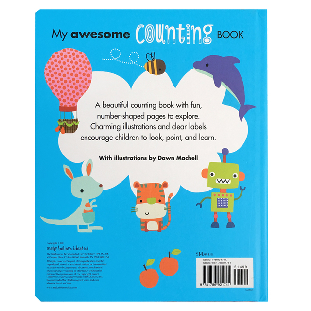 My Awesome Counting Book English board Books Baby kids math learning educational book with number shaped pages 5