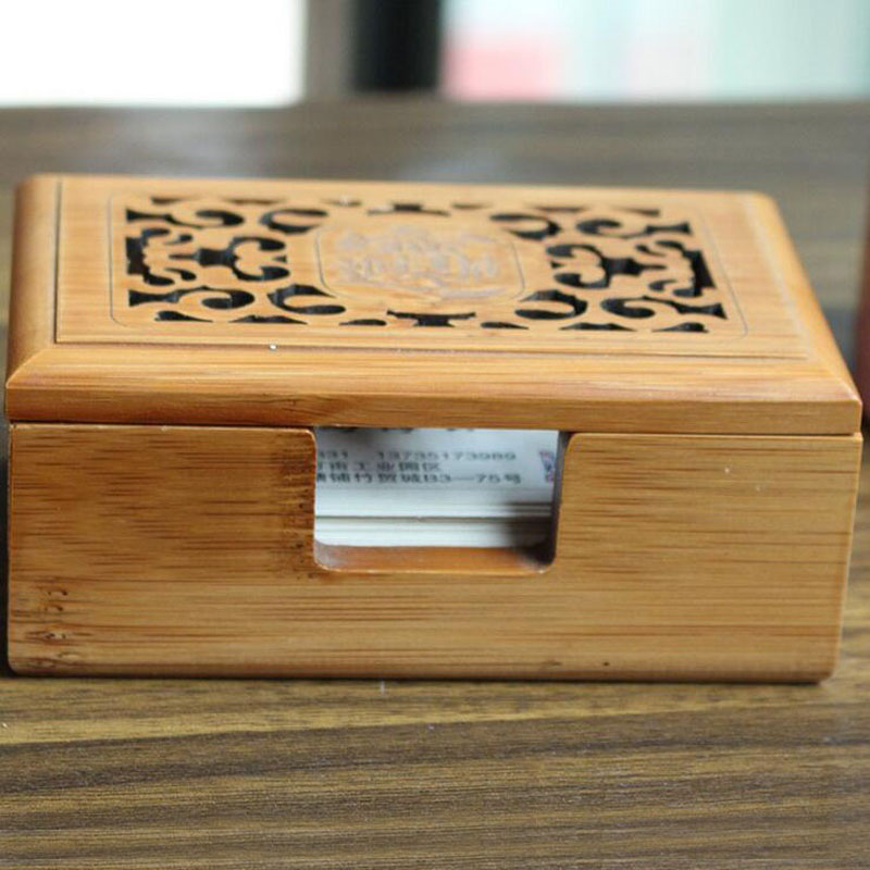 Vintage Hollow Out Wooden Business Card Storage Box Jewelry Makeup Organization Desktop Decoration Home Office Supplies ZA3193