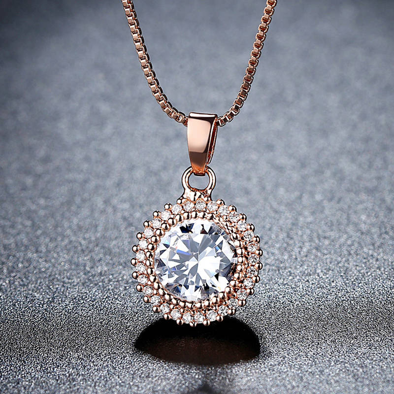 Rose Gold Silver Color CZ Pendant Necklaces The Wheel of Sun Round Crystal Jewelry Accessory For Woman Females Wedding Party