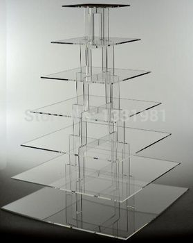 7 Tier Acrylic Square Tower Cupcake Stand Wedding Birthday Anniversary Party