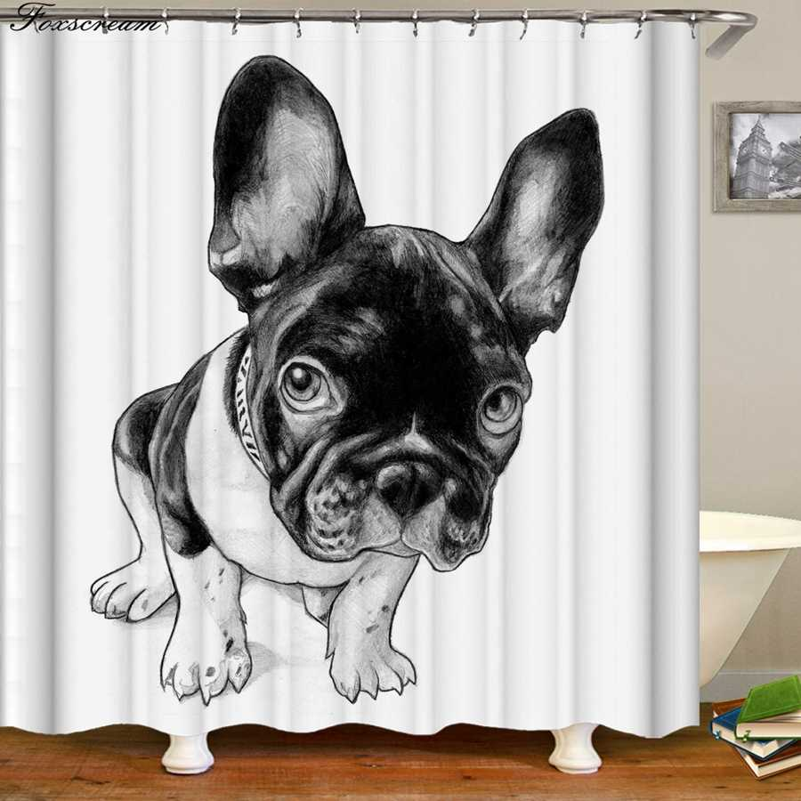 مضحك الكلب دش الستائر 3D دش الستار مع السنانير الحمام أقمشة ستائر لطيف للماء الستار أو حصيرة