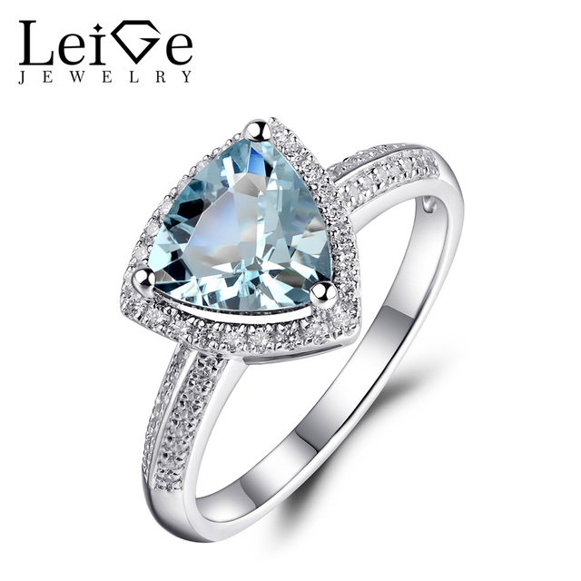 Leige Jewelry Aquamarine Engagement Ring for Women March Birthstone 925 Sterling Silver Ring Triangle Cut 8X8mm Natural Gemstone